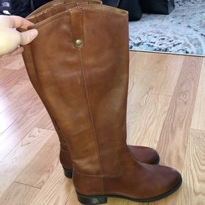 INC Fawne brown leather riding boots. NEVER WORN!